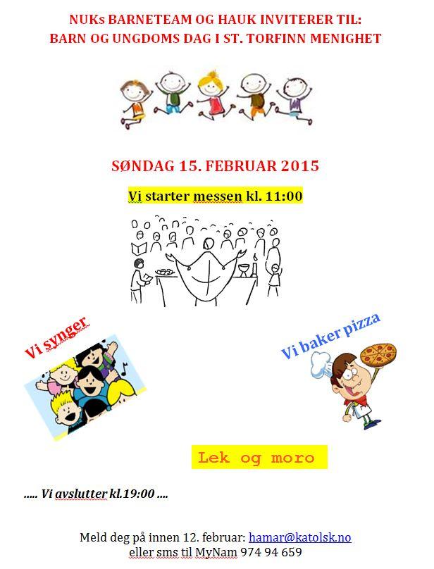 Barn og ungdomsdag 15.2.2015